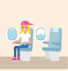 Cute teenage girl sitting on the plane editable vector