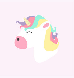 cute unicorn head cartoon vector image