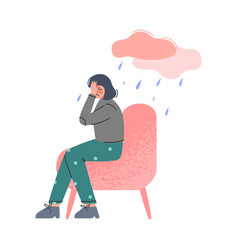 Depressed girl sitting on armchair covering her vector