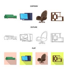 design of furniture and work symbol set of vector image