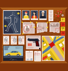 detective crime board with murder weapon and vector image