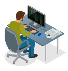 Developer Using Laptop Computer Web Development vector image vector image