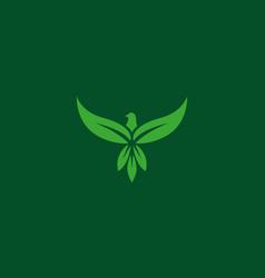 eagle and leaves or leaf logo pictorial logo vector image