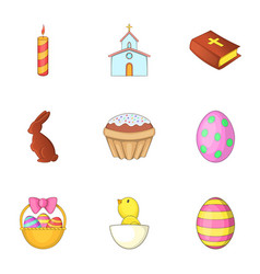 Easter time icons set cartoon style vector