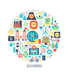 eco green energy flat infographics icons in circle vector image