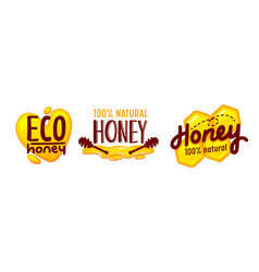 eco honey and bee farm production tags or icons vector image