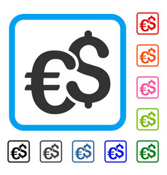 euro and dollar currency framed icon vector image