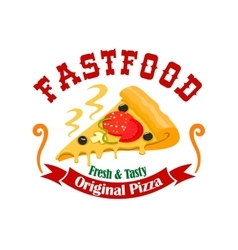 Fast food pizza slice label vector