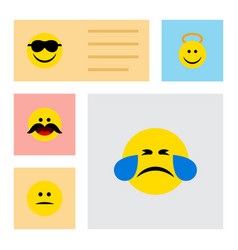 flat icon expression set of displeased angel vector image