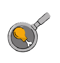 Fried thigh of chicken inside skillet pan vector