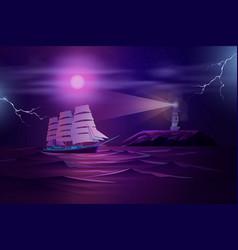 Frigate sailing in stormy ocean cartoon vector