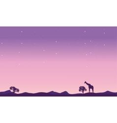 Giraffe landscape at night silhouette vector