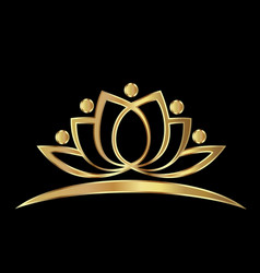 golden lotus plant vector image