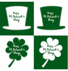 Green clover leaves and hat s vector