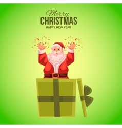Greeting card with cartoon santa claus popping out vector
