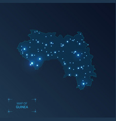 guinea map with cities luminous dots - neon vector image