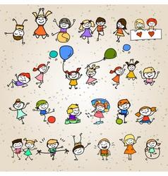 Hand drawing cartoon character happy kids vector
