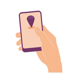 Hand holding smart phone with gps tracker sign vector
