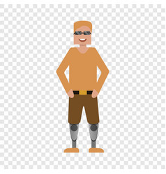 happy invalid man icon flat style vector image