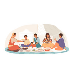 happy traditional indian family at festive dinner vector image
