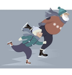 Ice skating with grandpa vector image