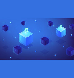 Isometric blockchain etherium cryptocurrency vector