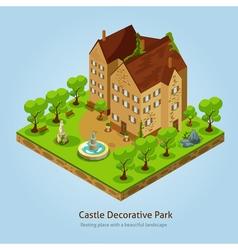 Isometric Castle Landscape Design Concept vector