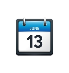 June 13 Calendar icon flat vector
