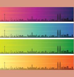 Kuala lumpur multiple color gradient skyline vector