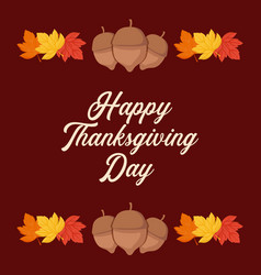 Leafs frame of thanksgiving day vector