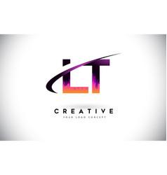 Lt l t grunge letter logo with purple vibrant vector