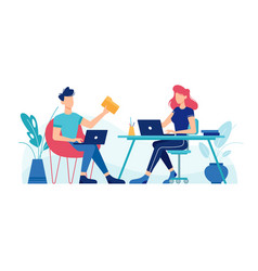 man and woman working with laptops computers vector image