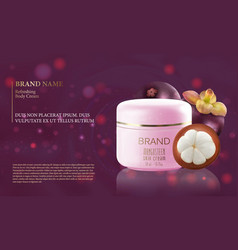 mangosteen fruit with a bottle of moisturizer vector image