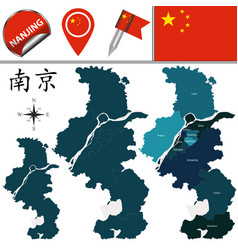 Map of nanjing with divisions vector