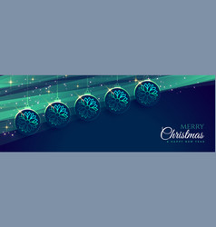 merry christmas blue banner with hanging vector image