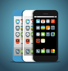 Modern smartphones with different color icons vector image
