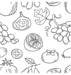Monochrome seamless pattern with fruits vector