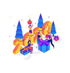 new year presents colorful isometric vector image