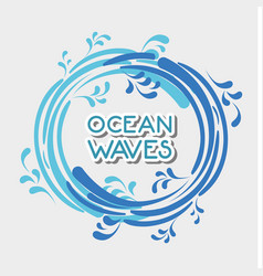 Ocean waves in circle shapes design vector
