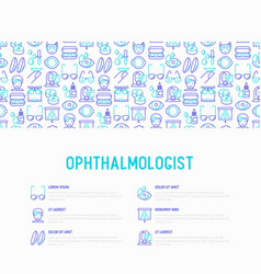 Ophthalmologist concept with thin line icons temp vector