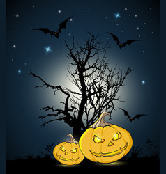 orange pumpkins and silhouette of tree vector image