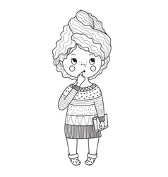 Pensive girl with bookdoodle style line art vector