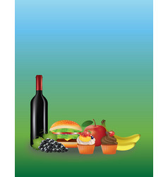 picnic food on green background vector image