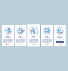 Plastic surgery center procedures onboarding vector