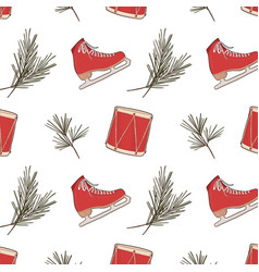 red skates drums and winter evergreen plant vector image