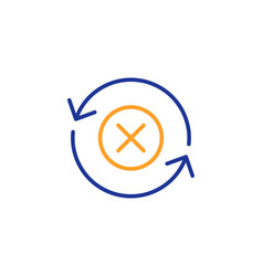 Reject refresh line icon decline update sign vector
