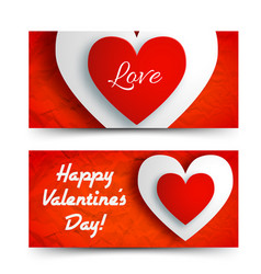 romantic greeting horizontal banners vector image