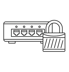 Router protected icon outline style vector