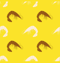 Seamless pattern with prawns vector