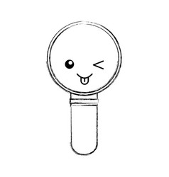search magnifying glass kawaii character vector image